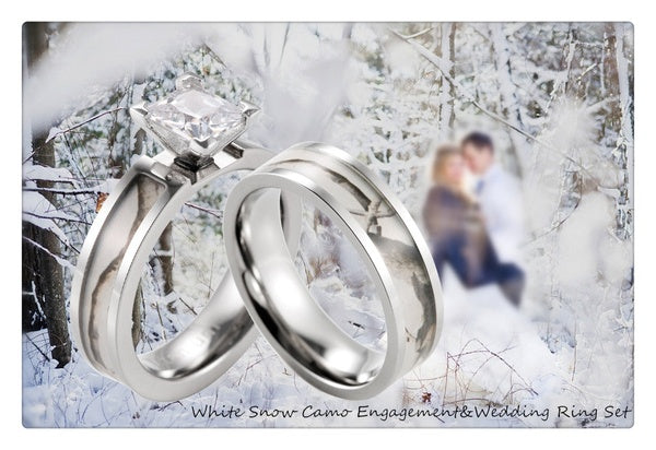 Couples Snow Birch Camo Inlay Wedding Band Engagement Ring Set 2 Rings 4 Prong CZ Womens / Antler Engraved Titanium Bands Matching His N Hers Hunt White Camouflage Sets
