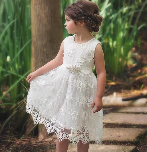 Little Girl's White Lace Jeweled High Waist Sleeveless Charming Elegance SZ 2 -6 Flower Girl Dresses Kids Girls Clothes Clothing Easter