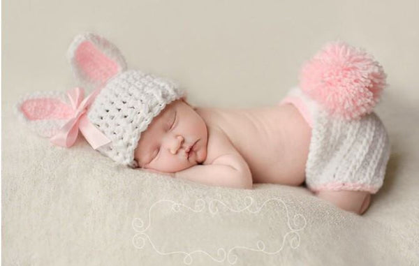 "Now in Stock!! "" Cottontail "" Newborn Baby Girl Hand Made Bunny plus bow 3 piece Crochet Set Hat Pant / Diaper Cover Infant 1st Photo Prop Easter Spring Rabbit"