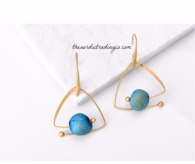 "Amazing Natural Stone Artisan Hand Crafted Women's Dangle Earrings "" Nordic Glaciers "" Ladies Jewelry Jewellery Accessories Gifts for Her"