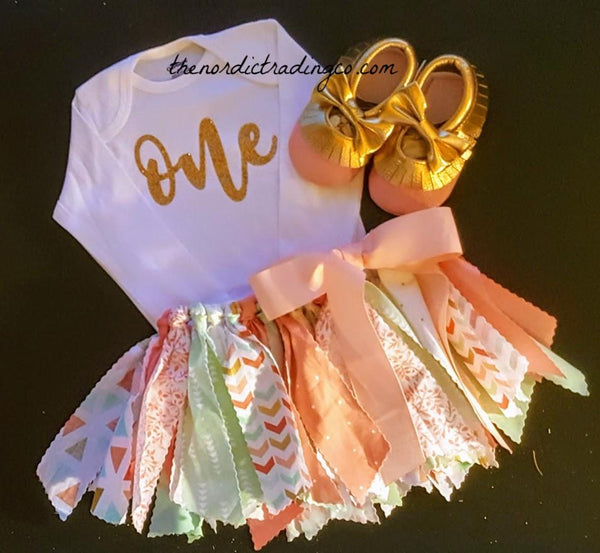 Baby Girl's 1st Birthday Set One Long Sleeve Onesie Handmade Shabby Chic Scrap Tied Tutu Skirt Coral Mint Gold Pink sz 12/18 mo. FREE Mocs Cake Smash Sets