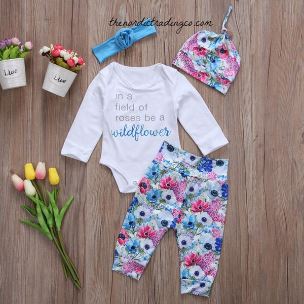 Baby Shower Gift Outfit Coming Home Newborn Girls Wildflower Rose