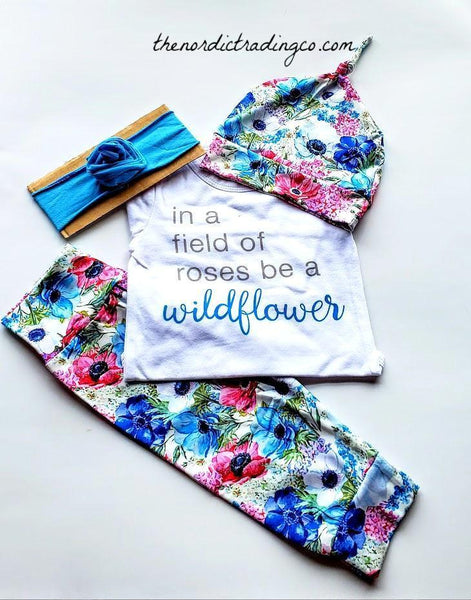 Wildflower Infant Outfit In a Field of Wildflowers Be a Rose Beautiful Quote 4 pc Set All Included Baby Shower Gift Babies Girl's Clothes Outfits Sets