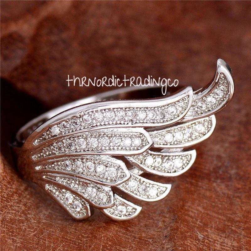Angel Wing Pave CZ Encrusted Women's Ring .925 Sterling Silver Wings Jewelry Gifts Mother's Day Mom Wife Girlfriend Wing