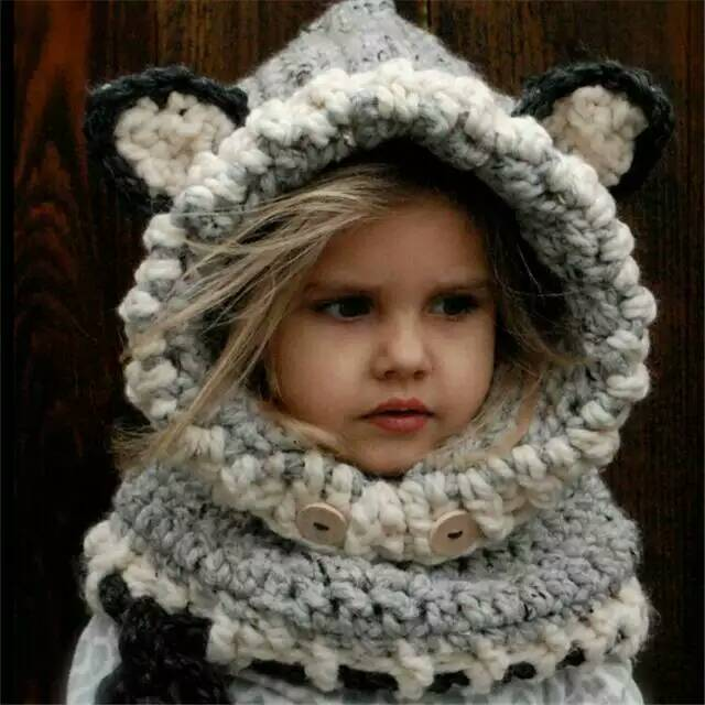 Little Girl s Wolf Cowl Scarf Hood Hat Grey Black Nubby Texture Yarn Hand  Knit Halloween Costume 211c4124d78