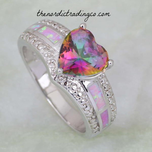 Women's Ring Heart Shape Rainbow Mystic Topaz and Pink Fire Opal Inlay .925 Sterling Silver Overlay New Sizes Added Rings Jewelry Gifts Accessories