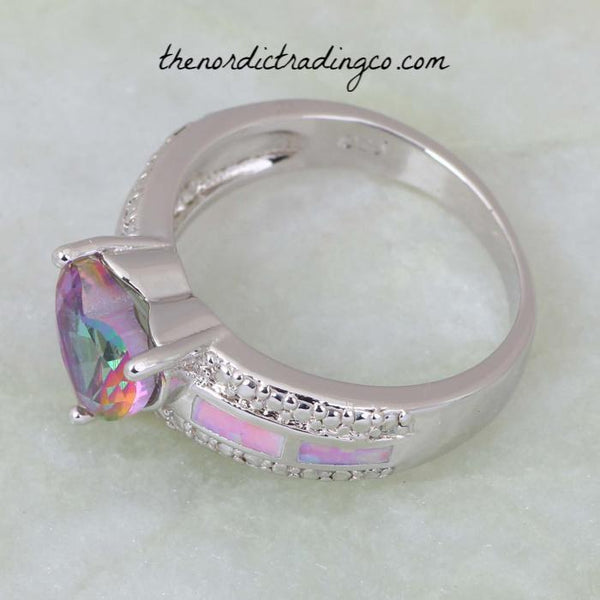 Women's Ring Heart Shape Rainbow Mystic Topaz and Fire Opal Inlay .925 Sterling Silver Overlay sz 9 Rings Jewelry Gifts Accessories