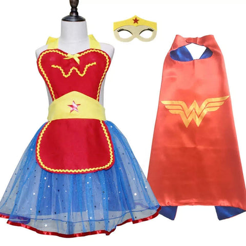 Wonder Woman Party Set Girl's Apron Style Dress Satin Cape Felt Mask Birthday Outfit Superhero Dress Up Play Clothes Gifts Girl Costumes Photo Prop Halloween