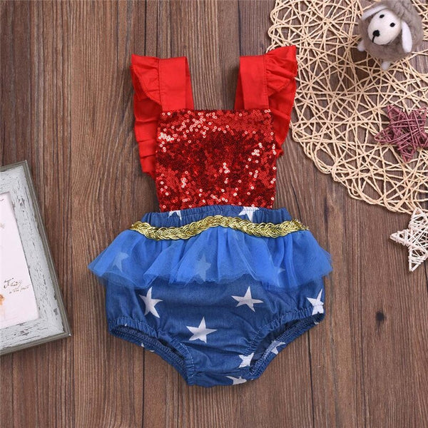 Infant / Toddler Wonder Woman Super Hero TuTu Gold Stars Tulle Skirt Halloween Costume Toddlers Girls Superhero Dresses Girl's Babies Costumes Party Dress Birthday