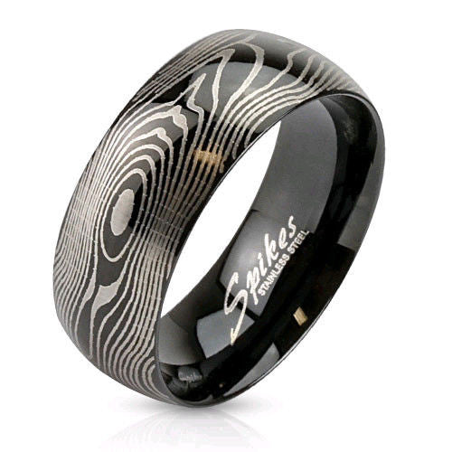 Men's ( Unisex ) Wood Grain Pattern Etched on a Black Highly Polished Stainless Steel 316L Band Makes a Great Wedding / Engagement Set