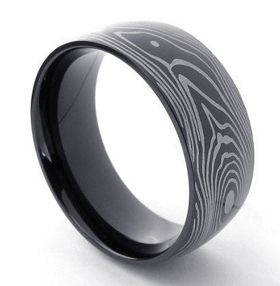 Wood Grain Pattern Etched Men's Wedding Engagement Ring Polished Black Stainless Steel 316L Rings Man Band Mens Jewelry Gifts Anniversary Gift Guys