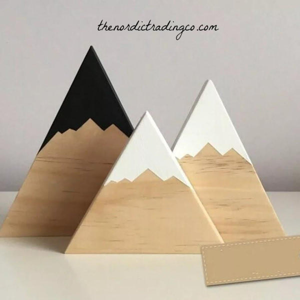 Mountains 3 Piece Set Real Wood Nordic Nursery Kids Room Decor Finished Tops Painted Black White Grey Capped Peaks Mountain Home Accessories