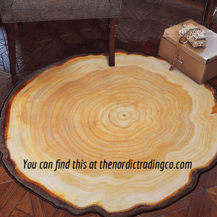 3D Wood Grain Tree Rings Accent Throw Rug Stain Resistant Scandinavian Nordic Interior Designs Baby Kids Nursery Bedroom