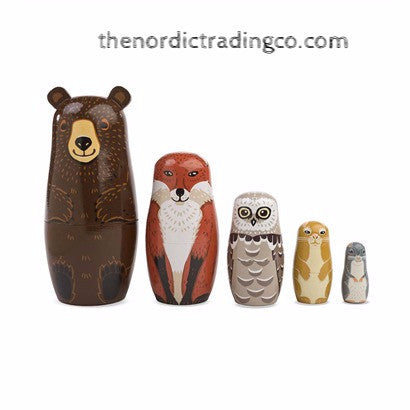 Woodland Friends Russian Nesting Dolls Set 5 Hand Painted
