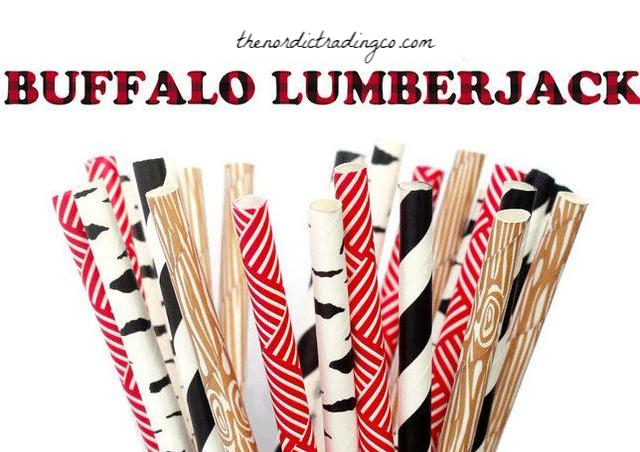 Lumberjack Straws Buffalo Plaid Birch Tree Wood Grain Red Black White Party Supplies Table Decorations