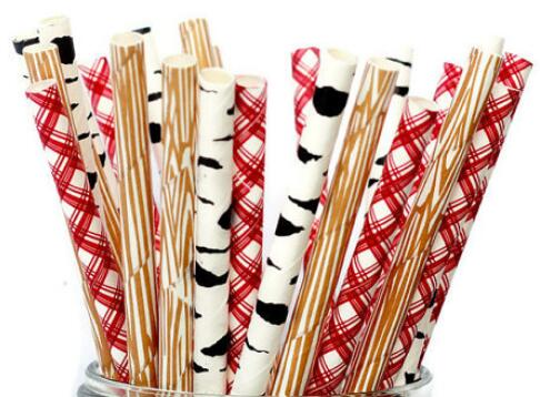 Woodland Lumberjack Paper Straws Set 4 Styles Birch Tree Plaid Patterns Party Goods Table Decorations Baby Shower Wedding Birthday Decor sets of 25 Mixed Trees