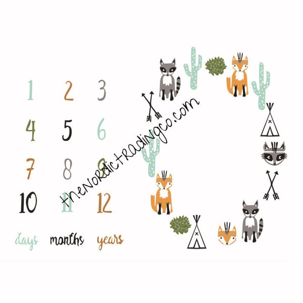 Woodlands Theme Milestone Photo Prop Baby PicturesMat  Boy Girl Baby Shower Gifts Gift Ideas Fox Raccoon Arrows