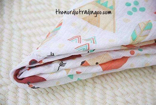 Woodland Animals Boys Swaddle Blanket Organic Muslin Cotton Full Size 100 cm x 100 Bears Fox Trees Forest Adventure Baby Boy Shower Gifts Infant Swaddling Blankets