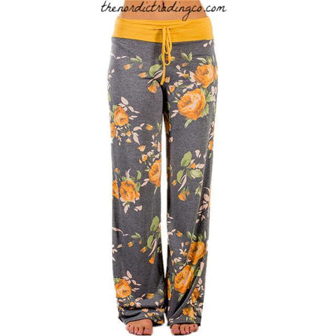 Women's Wide Leg Yellow Roses Lounge Pants & Grey Gray Background S, M, L, XL Sleep Pants Girl's Dorm PJ Christmas Gifts Her Womens Casual Clothes Palazzo Legs Pant