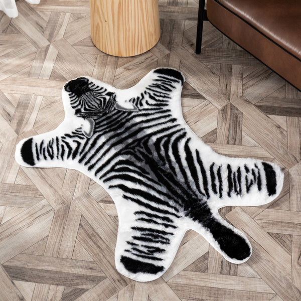 Faux Fur Zebra Skin Rug Home Decor Safari Baby Kids Room