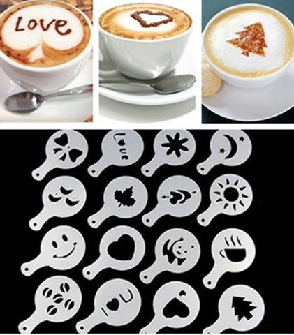 Coffee Barista Stencil Tools - 16Pcs