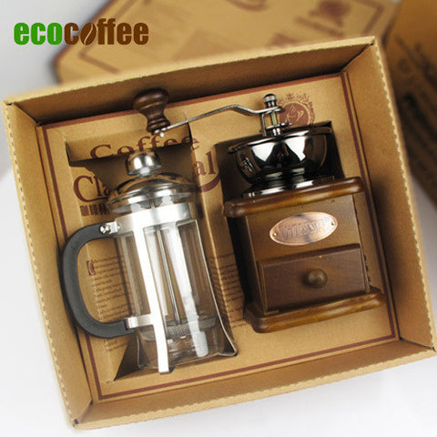 Coffee Gift Box With Coffee Grinder and French Press