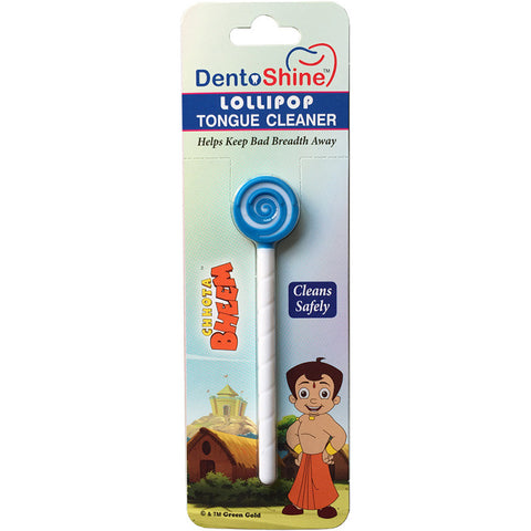 DentoShine Lollipop Tongue Cleaner For Kids (Chhota Bheem) - Blue