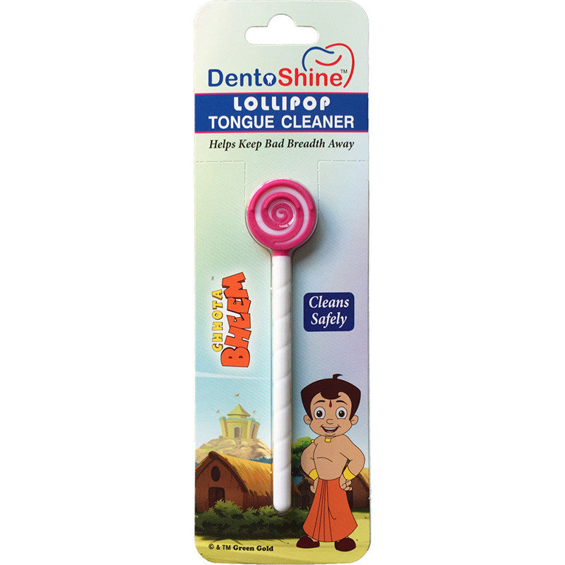 DentoShine Lollipop Tongue Cleaner For Kids (Chhota Bheem) - Pink