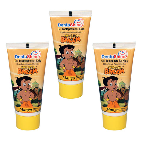 DentoShine Gel Toothpaste For Kids (Chhota Bheem) - Mango (Pack of 3) - 80 g Each