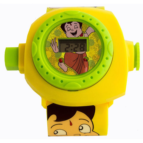 Toys Buggy Chhota Bheem 24 Images Projector Watch (Yellow)