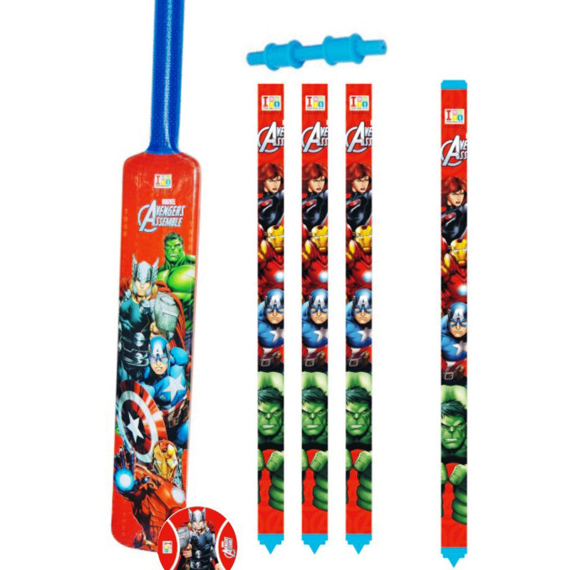 Avengers Cricket Set With 4 Wickets - Plastic - Big