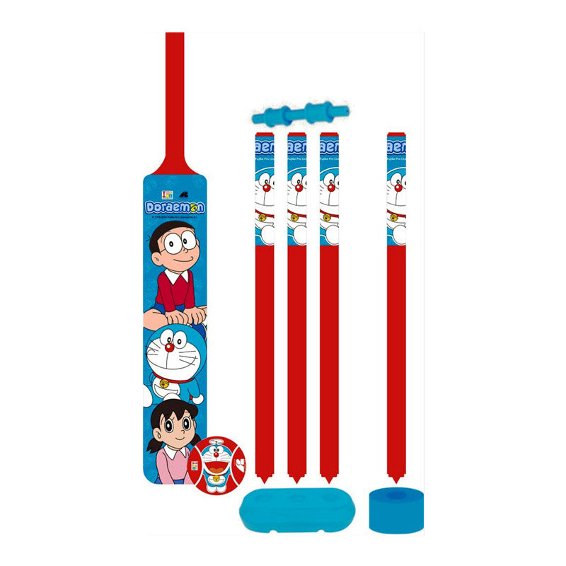 Doraemon Cricket Set With 4 Wickets - Plastic - Big
