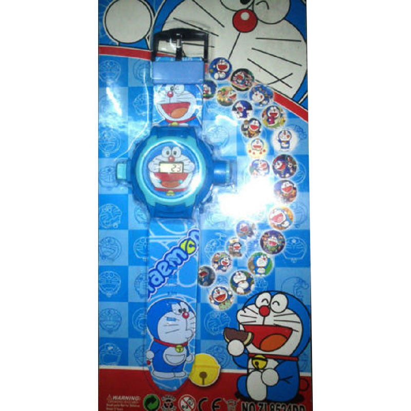 Toys Buggy New Doraemon 24 Images Projector Watch (Blue)