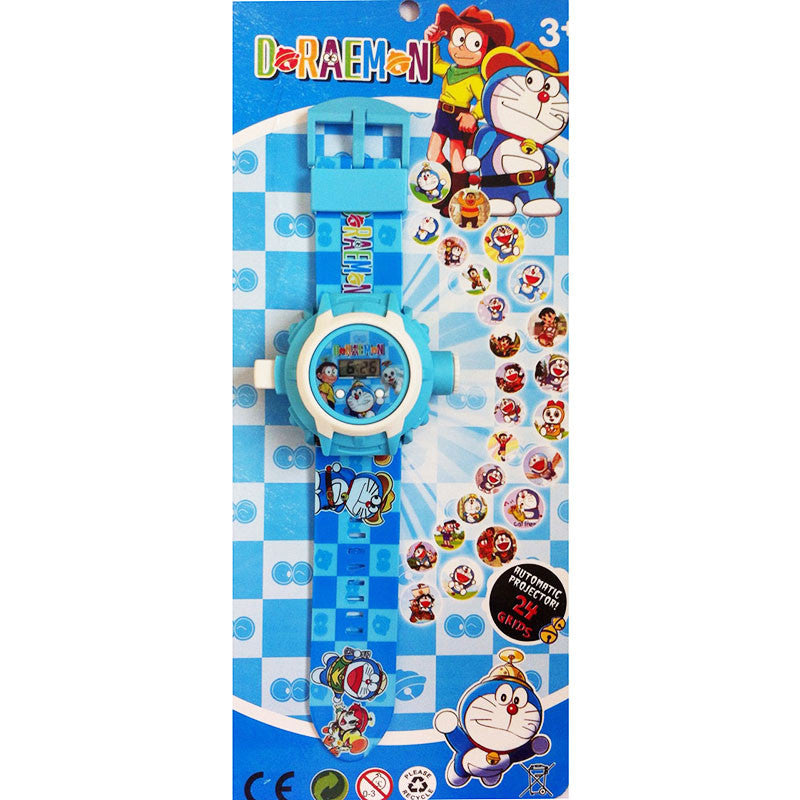 Toys Buggy Doraemon 24 Images Projector Watch (Blue)