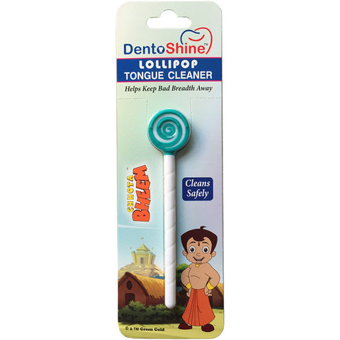 DentoShine Lollipop Tongue Cleaner For Kids (Chhota Bheem) - Green