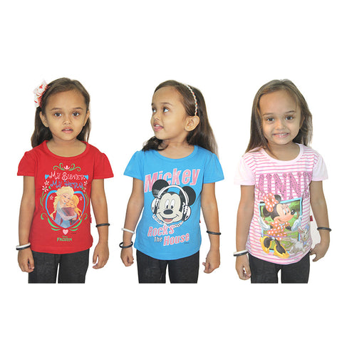 Disney Minnie, Mickey & Frozen Girls Top Combo (Pack Of 3)