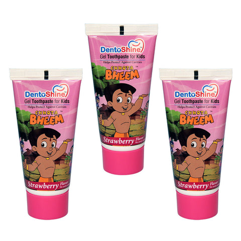 DentoShine Gel Toothpaste For Kids (Chhota Bheem) - Strawberry (Pack of 3) - 80 g Each