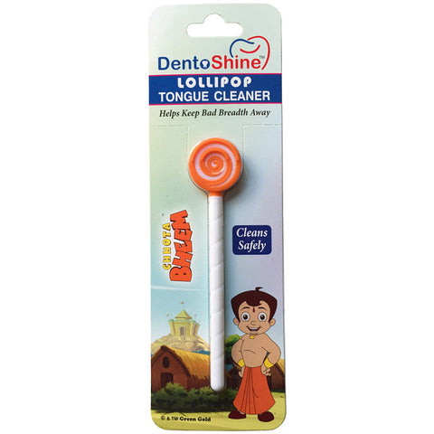 DentoShine Lollipop Tongue Cleaner For Kids (Chhota Bheem) - Orange