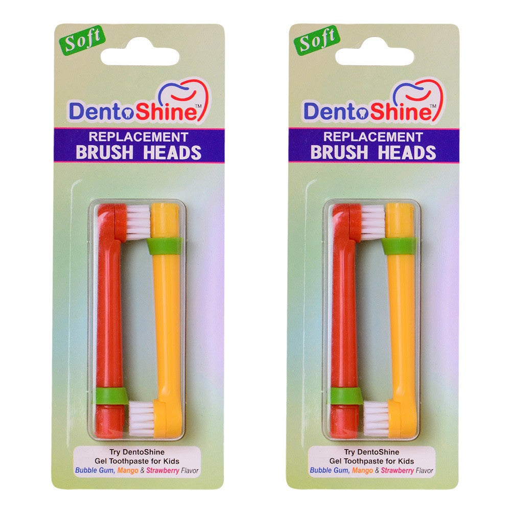 DentoShine Power Toothbrush For Kids - Replacement Brush Heads (4 count)