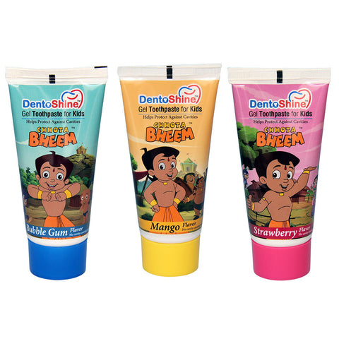 DentoShine Gel Toothpaste For Kids (Chhota Bheem) - Pack Of 3 Flavors - Bubble Gum, Mango & Strawberry (80 g Each)