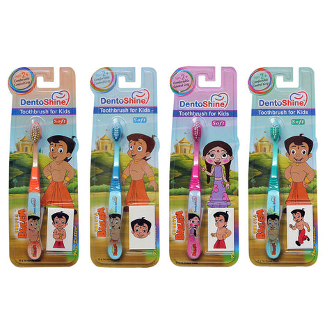 DentoShine Toothbrush For Kids - Pack Of 4 Designs (Chhota Bheem)