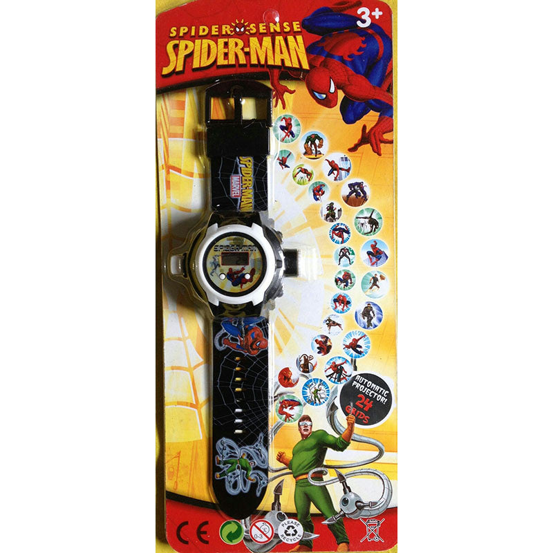 Toys Buggy Spiderman 24 Images Projector Watch (Black)