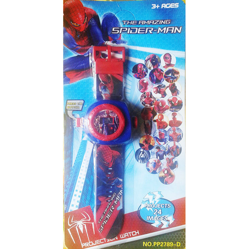 Toys Buggy Spiderman 24 Images Projector Watch (Red)