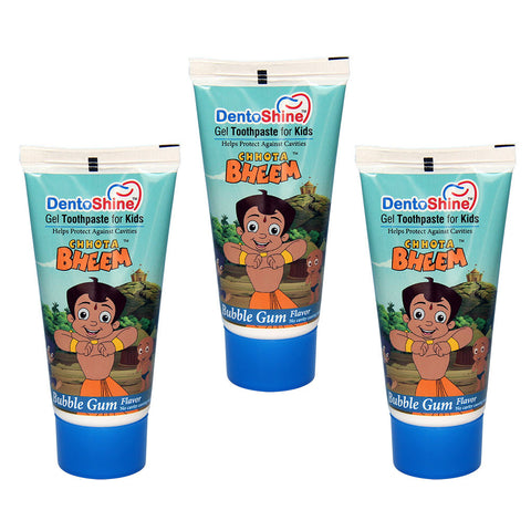 DentoShine Gel Toothpaste For Kids (Chhota Bheem) - Bubble Gum (Pack of 3) - 80 g each