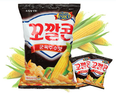 Lotte Kkokkalcon Snack (Roasted Corn)/롯데 꼬깔콘 군옥수수맛 (155g)