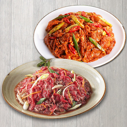 Set Seasoned Pork Butt Sliced 3lb + Seasoned Beef Slice 3lb Set/양념 돼지불고기 3lb + 양념 소불고기 3lb Set