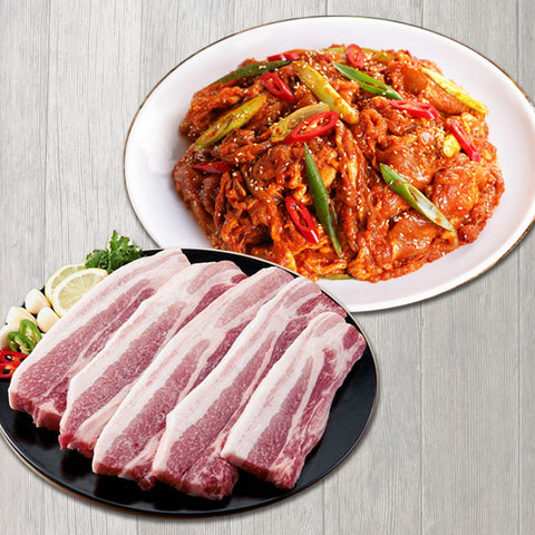 [2종 세트] Set Pork Belly 3lb + Seasoned Pork Butt Sliced 3lb Set / 삼겹살 3lb + 양념 돼지불고기 3lb Set