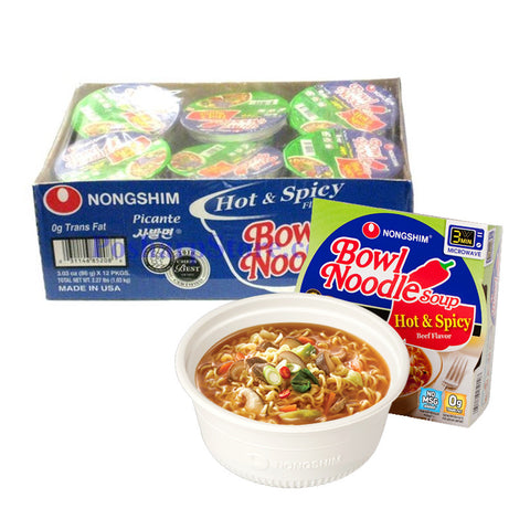 [Nongshim] Hot & Spicy Bowl Noodle Soup/육개장 사발면(3.03oz*12cup/BOX)