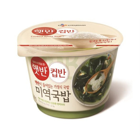 [CJ] Cooked White Rice w. Seaweed Soup/햇반 컵반 미역국반 (166.8g)