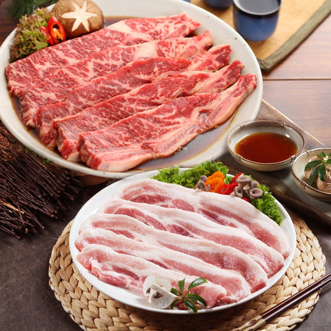 Pork Belly 4lb + Marinated LA Beef Short Rib 5lb Set/삼겹살 4lb + 양념 LA갈비 5lb Set